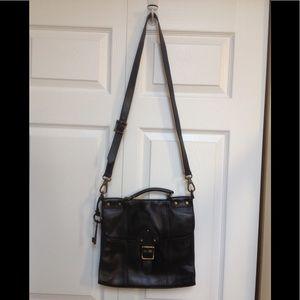 Fossil Black leather cross body purse
